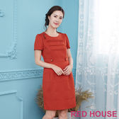 【RED HOUSE-蕾赫斯】細條壓摺洋裝(橘色)