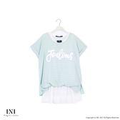 【INI】自然混搭、假兩件式條紋造型拼接長版上衣.蘋果綠色