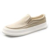 春季新款男鞋帆布鞋低筒厚底板鞋一腳蹬懶人鞋韓版潮休閒布鞋  卡布奇諾