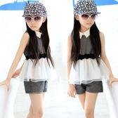 女童套裝2018新款9歲女孩春夏裝短袖兩件套LJ4558『miss洛羽』