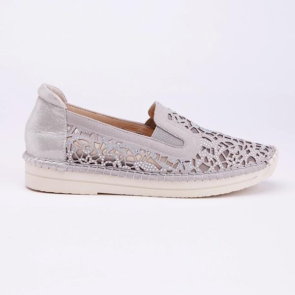 kadia.雕花素雅水鑽高休閒鞋(9013-88灰色)