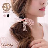 髮飾 韓國直送蕾絲蝴蝶結水鑽珍珠髮圈-Ruby s 露比午茶