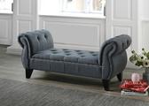 【森可家居】Benigni深灰布床尾椅 8JF11227 沙發椅凳 長凳 穿鞋椅 玄關椅 經典美式拉扣