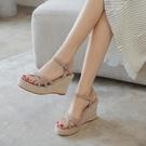 厚底涼鞋 2021夏季新款百搭坡跟防水臺高跟鞋性感涼鞋女露趾厚底羅馬草編鞋