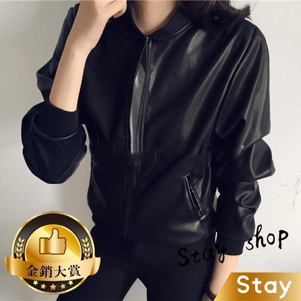 【Stay】帥氣BF休閒皮衣外套 東大門短款立領拉鍊黑色機車 夾克外套【J20】
