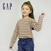 Gap女童 純棉條紋波浪領長袖T恤 959457-駝色條紋