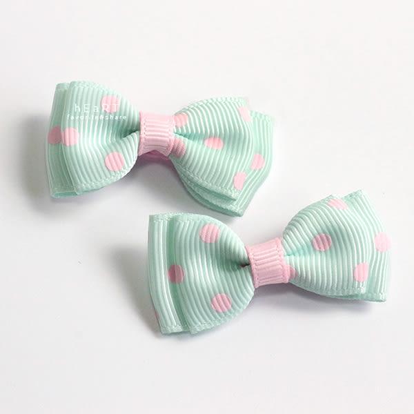 雙層蝴蝶結圓點布藝髮夾 2入組 兒童造型用品 頭髮造型用品 髮夾 髮飾