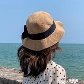 沙灘帽 蝴蝶結草帽女沙灘出游度假韓版潮遮陽防曬帽夏季海邊可折疊太陽帽