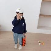 兒童連帽T恤女 連帽T恤棉質小女孩寬鬆長袖2020秋季新款女童打底上衣潮 5色