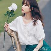 雪紡娃娃衫 棉麻襯衫女夏學生韓版寬鬆百搭娃娃衫亞麻白色上衣 coco衣巷
