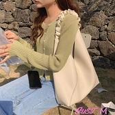 子母包歐比 簡約女包大容量韓版休閒側背斜背包軟皮褶皺肩帶百搭子母包 JUST M
