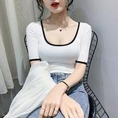 低胸上衣 低胸性感短袖T恤女夏季彈力修身顯瘦U領小眾設計感打底上衣