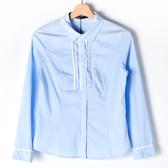 【MASTINA】胸口綴飾長袖襯衫-藍 好康限時