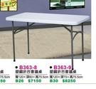 [ 家事達 ] 台灣DF-B363-9  4尺長方型塑鋼折合會議桌 特價 可直接使用