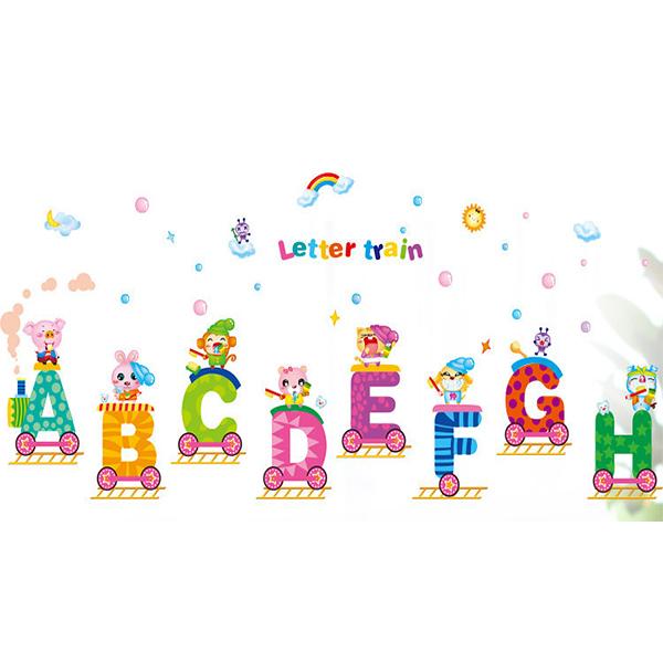英文字母 卡通動物火車 DLX0168C(M)新款壁貼 兒童房 室內佈置 居家裝飾 壁貼【YV0640-1】BO雜貨
