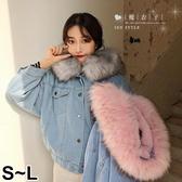【QV9066】魔衣子-冬裝羊羔毛大毛領牛仔外套