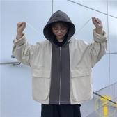 韓版寬松運動風工裝上衣拼接拉鏈連帽長袖外套女【雲木雜貨】