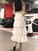 洋裝 夏裝2019新款冷淡風連身裙女復古正韓氣質中長款高腰吊帶蛋糕裙子 一次元