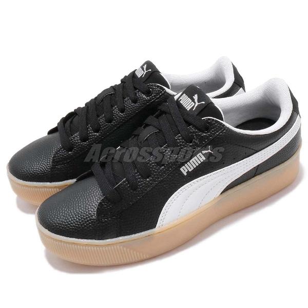 Puma Vikky Platform VT 黑 白 膠底設計 皮革鞋面 厚底鞋 鬆糕鞋 女鞋【ACS】 36680502