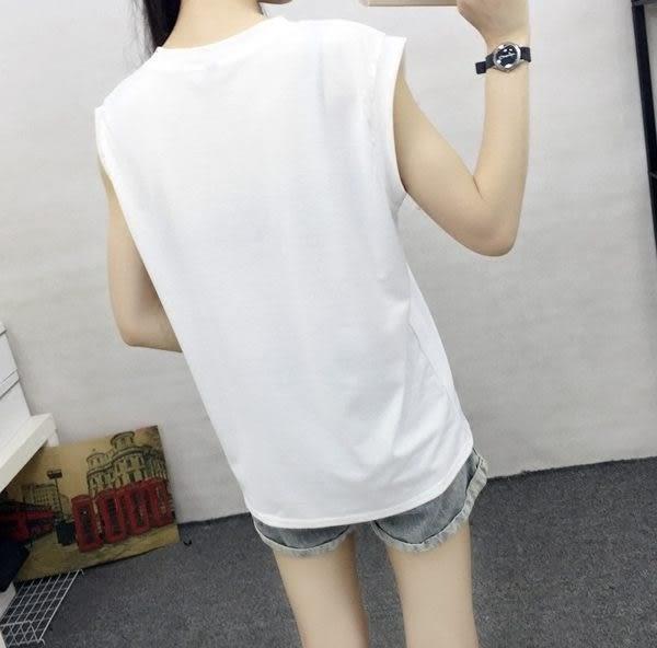 (全館免運)ZUCAS - 百搭字母印花無袖背心圓領寬鬆背心T恤 (T-507均碼