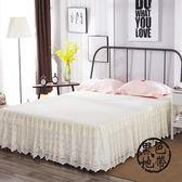 蕾絲床裙單件1.5m1.8米2.0荷葉邊公主風夏季花邊蕾絲邊防滑床罩  ~黑色地帶