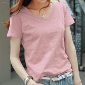 純棉粉色t恤女短袖女2019新款潮夏裝寬鬆韓版純色竹節棉大碼上衣