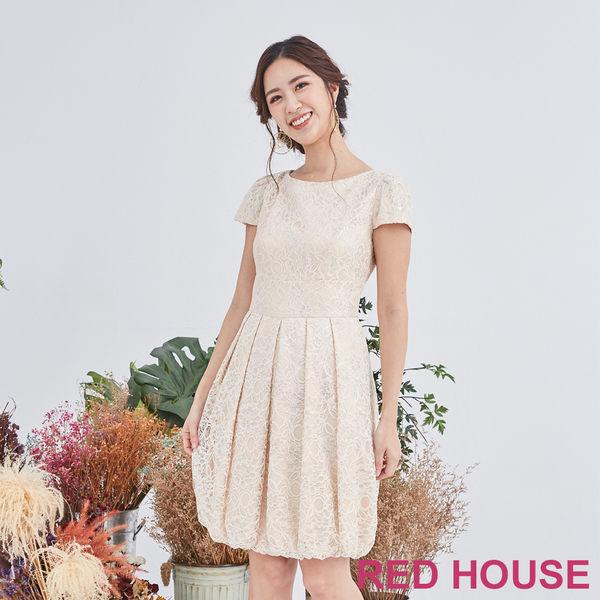 Red House 蕾赫斯-蕾絲花苞洋裝(金色)