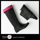 義大利 CAMOMILLA  可折疊輕量雨靴 /  撞色 顯瘦 輕便 軟面 摺疊 長筒  雨鞋 mo.oh (歐美鞋款)
