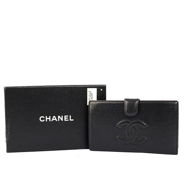 【CHANEL】荔枝紋中夾(黑色)CH22000014
