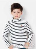 男童條紋打底衫  男童打底衫加絨加厚大童秋衣保暖衣純棉t恤長袖冬季兒童高領上衣 宜室家居