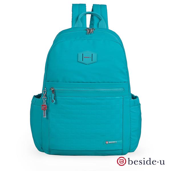 【BESIDE-U】TUBE CONNECTION FOCUS時尚嬌點 學院風棋盤格紋後背包-勁藍色