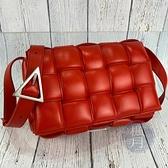 BRAND楓月 Bottega Veneta BV 大編織 新版 羊皮 皮革 皮質 紅色 枕頭包 郵差包 單肩包