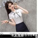 職業白色襯衫女2021夏季新款時尚韓版短袖襯衣套裙工作服雪紡上衣 美眉新品