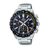 CASIO手錶專賣店EFS-S550DB-1A EDIFICE 時尚太陽能三眼男錶 黑黃跳色 藍寶石玻璃 防水100米