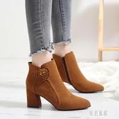 秋冬新款高跟粗跟短靴尖頭韓版大碼女鞋花朵馬丁靴英倫女靴子踝靴 LR16089【原創風館】