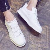 厚底鞋夏季白色低幫圓頭男鞋子韓版潮流厚底小白鞋男休閒 雲朵走走