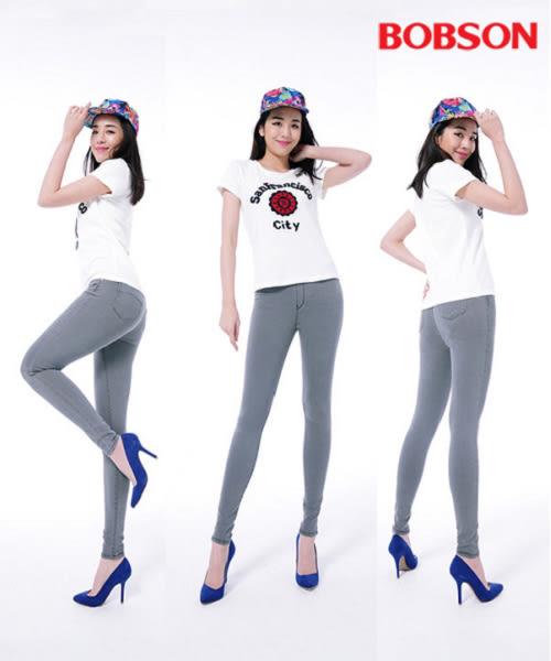BOBSON  女款中腰強彈力鬆緊帶緊身褲(8135-87)