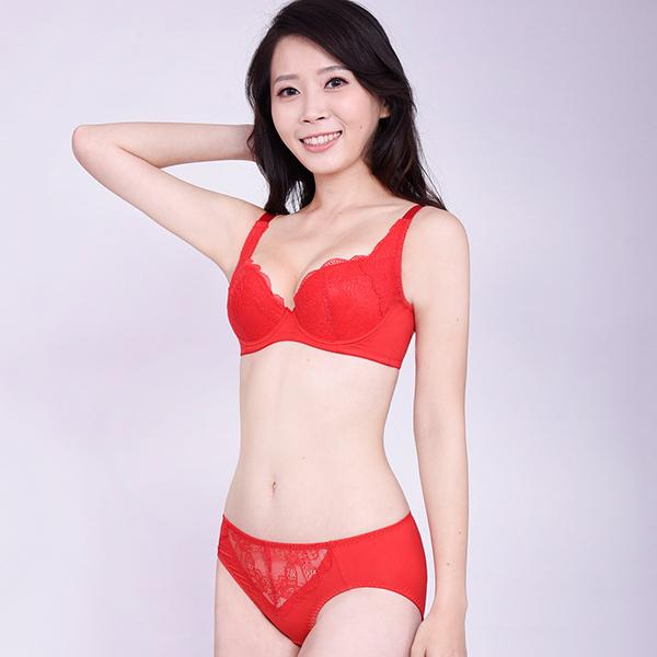 思薇爾-沁甜花漾系列B-F罩蕾絲包覆內衣(袍紅色)
