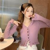 辣妹短款上衣女春季秋2021新款設計感修身針織開衫bm風薄款小外套 韓國時尚週
