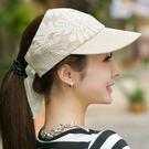 正韓夏天女士空頂蕾絲遮陽帽子防紫外線涼帽...