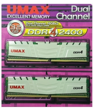 【超人百貨X】現貨+預購*UMAX 桌上型記憶體 DDR4 2400 雙通道 32GB (16G*2)散熱片