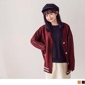 撞色織紋木紋釦寬長版針織外套/罩衫 OrangeBear《FA2247》
