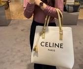 ■專櫃72折■ Celine 瑟琳 全新真品 印花布料及層壓小牛皮橫式Cabas 包