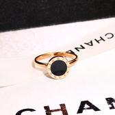 8折免運 正韓簡約羅馬數字黑面食指戒指女 時尚潮人玫瑰金環飾品