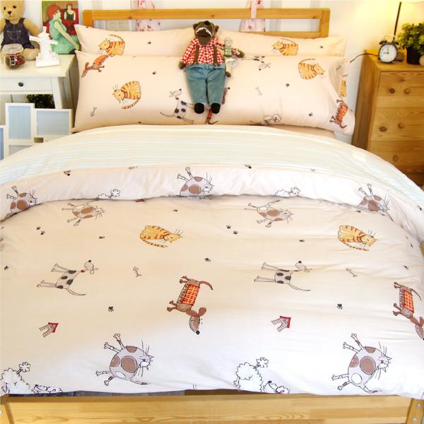 雙人床包+兩用被4件組、100%精梳純棉【布萊梅家族】大鐘印染 #台灣製造