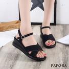 PAPORA大交叉涼感楔型涼鞋KB357黑/米/粉