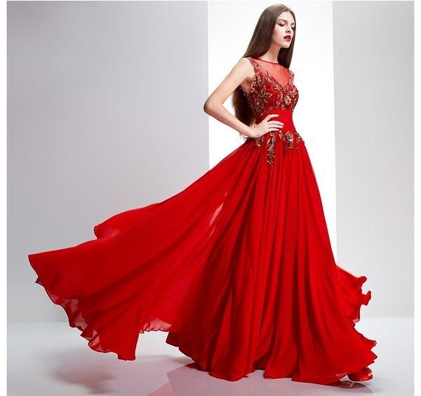 顯瘦修身紅色新娘結婚禮服敬酒服-isab0025