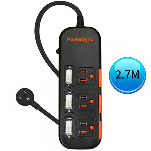 (最新安規款) PowerSync 群加 三開三插滑蓋防塵防雷擊延長線 2.7M (TS3X0027)