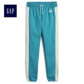 Gap女童 Logo側邊條紋休閒褲 472158-藍綠色