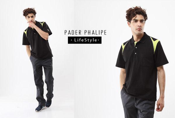 【PADER PHALIPE】剪接款POLO衫-黑色《中性版83174-3&女版83175-3》